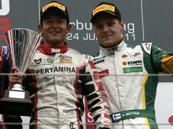 Харьянто и Боттас победили в дождевых гонках GP3 в Германии