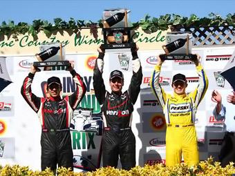 Пилоты Penske заняли весь подиум на гонке INDYCAR в Калифорнии