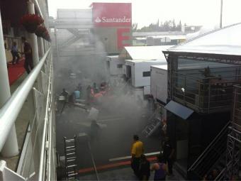 На трассе в Испании после гонки Формулы-1 произошел пожар