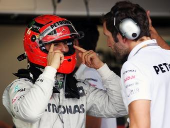 Шумахеру не хватило четырех сотых секунды для начала быстрого круга