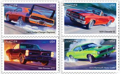 На почтовых знаках изобразили классические автомобили 60-х годов. Фото 1