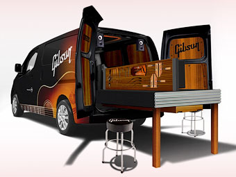 Gibson приспособил фургон Nissan под мастерскую для ремонта гитар