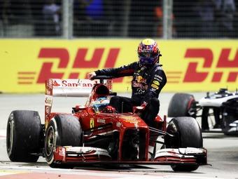 Марка Уэббера наказали за инцидент после финиша Гран-при Сингапура