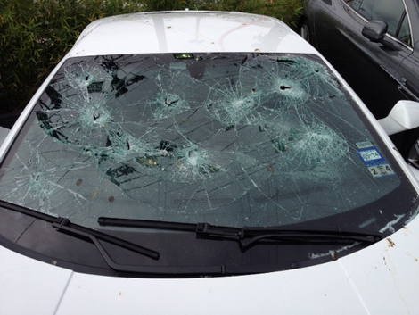 Преступник стрелял из дробовика в Aston Martin Rapide и Lamborghini Gallardo. Фото 1