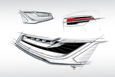 Опубликованы рисунки рестайлинговой версии флагманской модели Audi. Фото 1