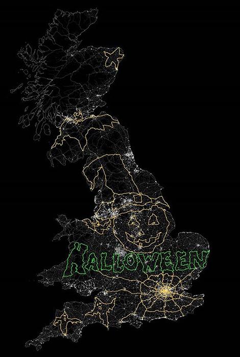 """""""Корса"""" нарисовала картинку к Хэллоуину на карте Великобритании"""