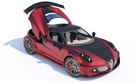 Ателье Lazzarini Design представило проект тюнинга спорткупе 4C. Фото 3