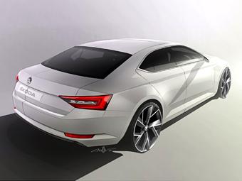 Skoda показала заднюю часть кузова нового Superb