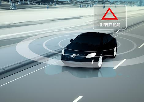 Компания протестирует на дорогах систему предупреждения о скользкой дороге. Фото 1