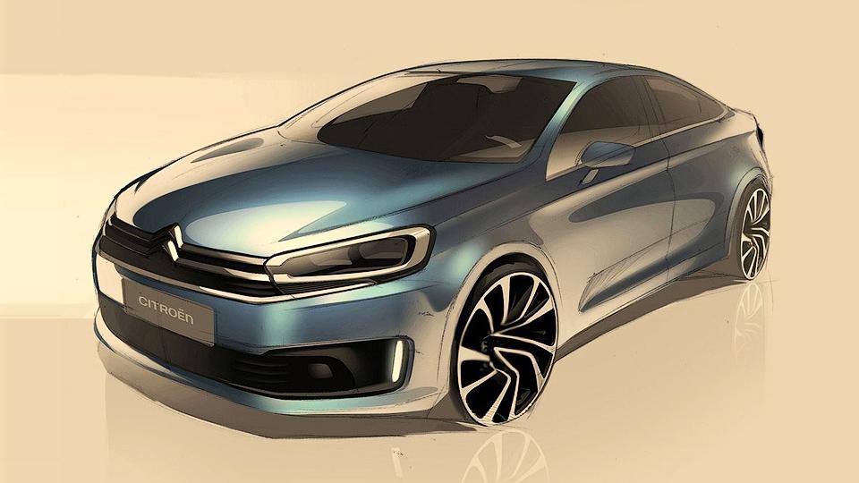 Компания Citroen показала дизайн нового компактного седана