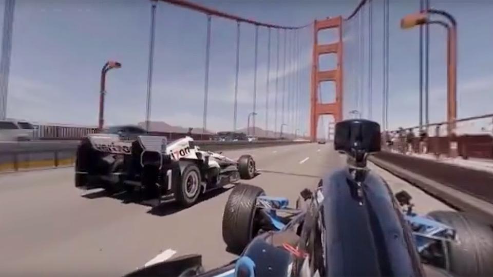 Заезд болидов IndyCar по мосту «Золотые Ворота» показали в панорамном видео