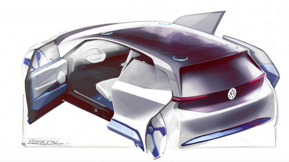 VW продемонстрировал эскизы нового электрокара