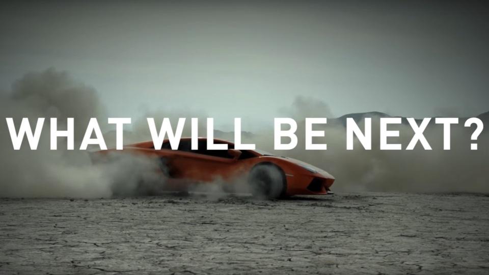 Lamborghini показала тизер новой модели смотором V12