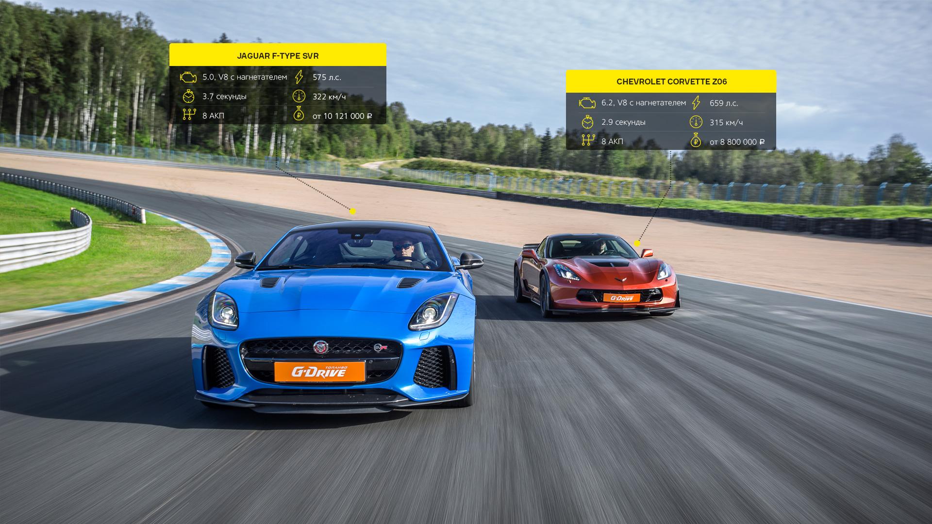 Битва года: Jaguar F-Type SVR vsChevrolet Corvette Z06. Фото 9
