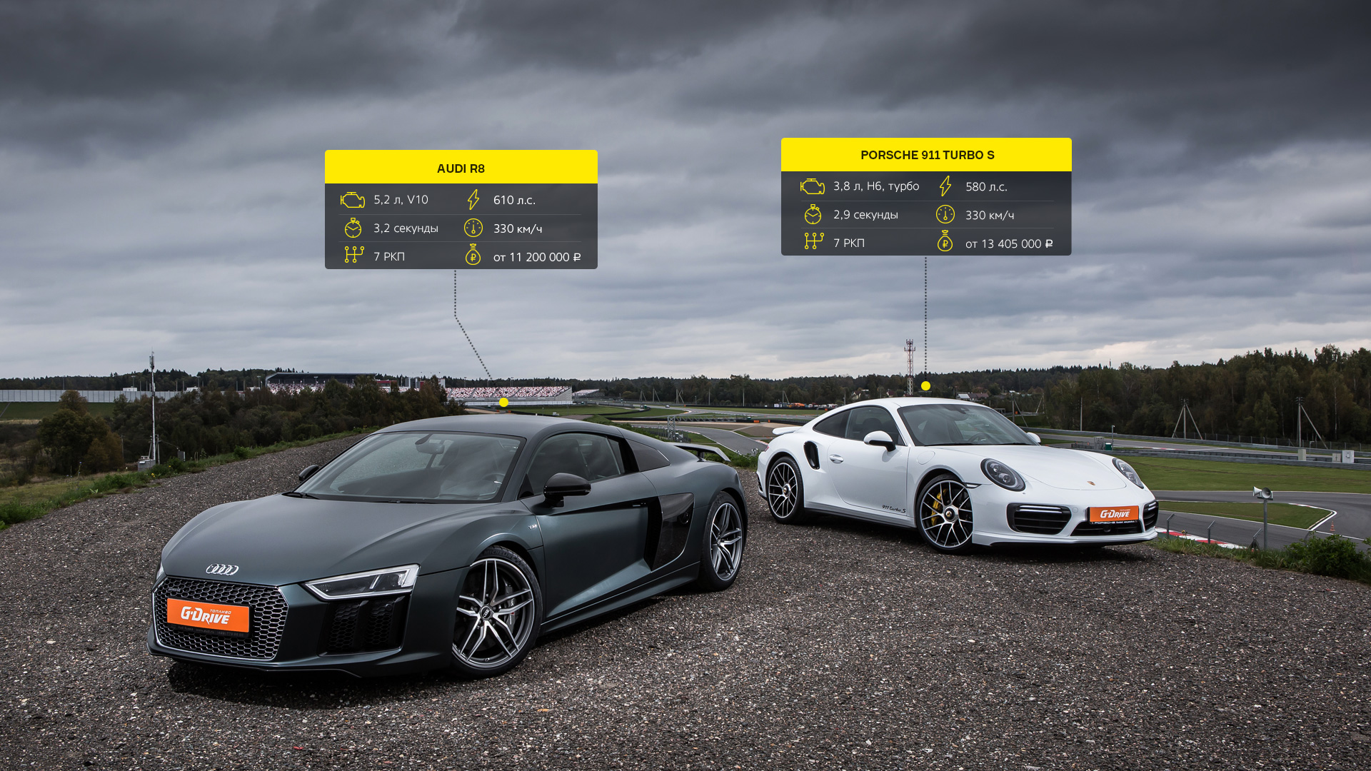 Битва года: Porsche 911 Turbo S vs Audi R8 V10 plus. Фото 9