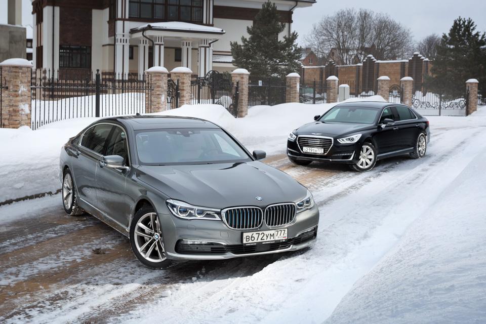 Genesis G90 L, BMW 740Leиспор двух Михаилов