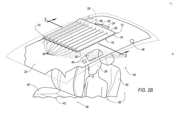 В Форд хотят устанавливать подушки безопасности напотолке автомобиля