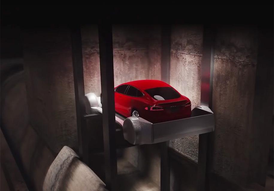 Илон Маск продемонстрировал автомобильный лифт для подземных тоннелей