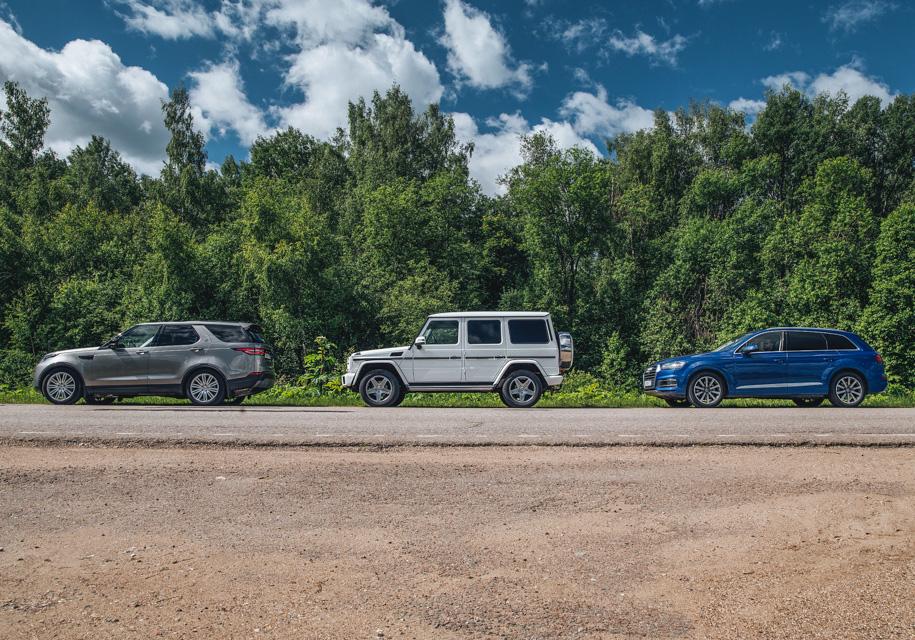 До сингулярности подбросишь? Land Rover Discovery против двух крайностей: Audi Q7 и Mercedes G 350d
