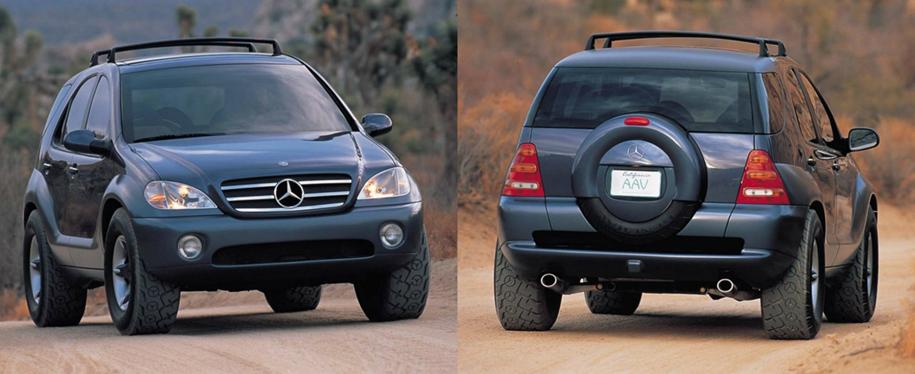 Mercedes-Benz AAV Concept – так выглядел выставочный прообраз будущего кроссовера ML. Обратите внимание на мерседесовские звезды даже на протекторе