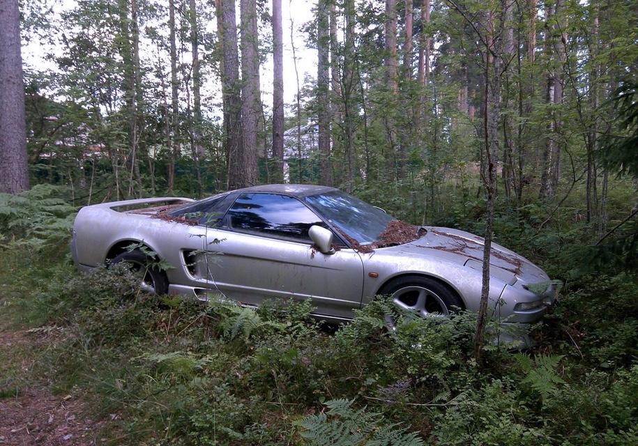 Редкостный спорткар Хонда порос мхом влесу