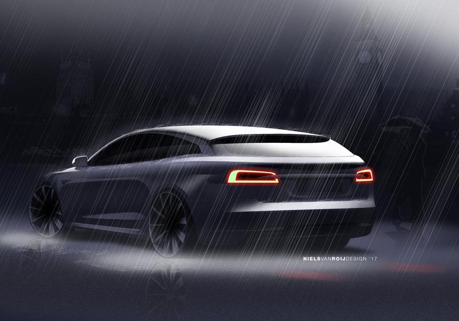 Вглобальной web-сети появились первые фотографии Tesla Model SShooting Brake