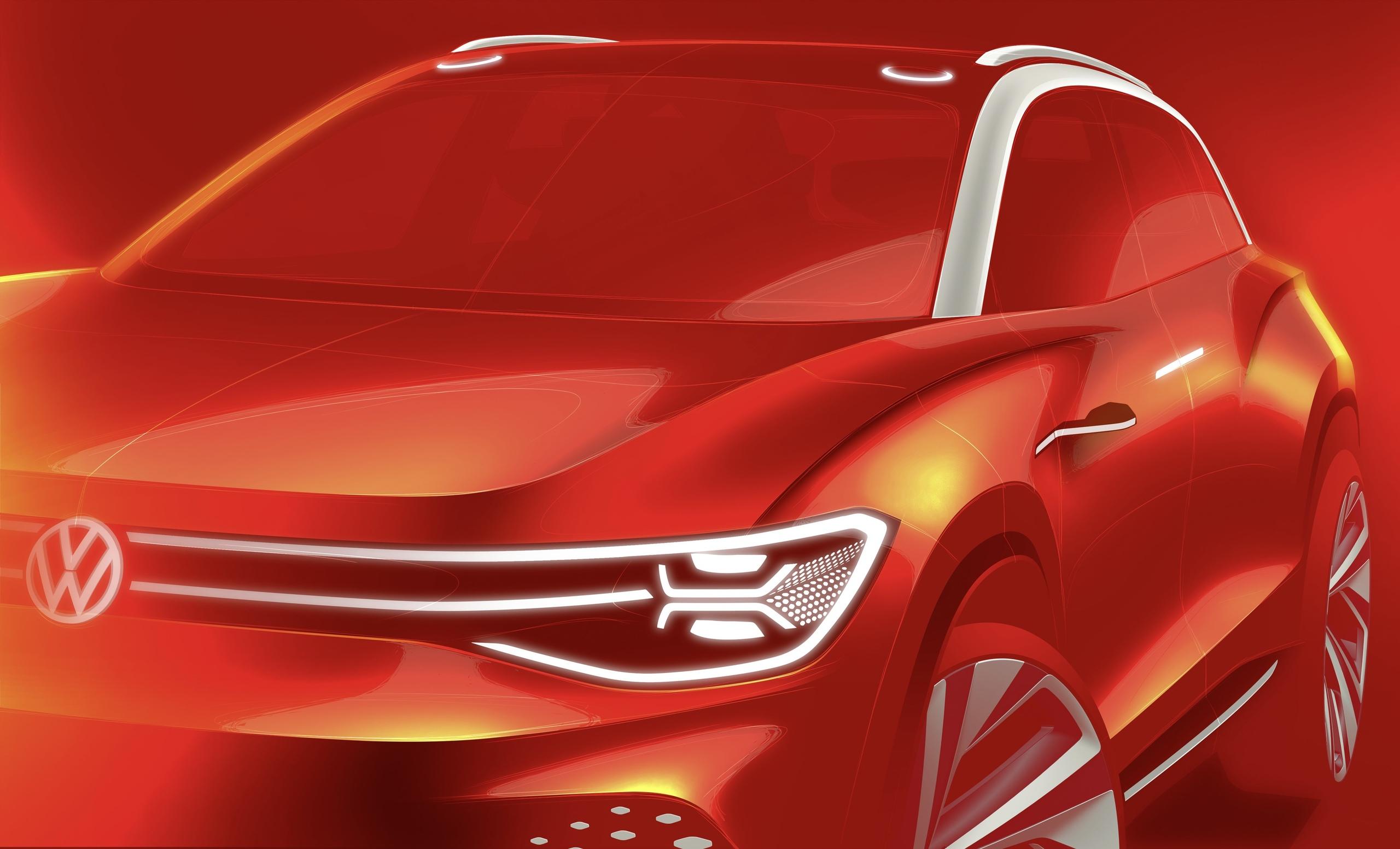 VW показал первое изображение большого электрического кроссовера