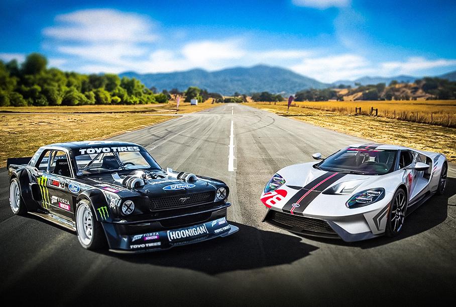 Дрэг-гонка: Ford Mustang Кена Блока не оставил никаких шансов карбоновому Ford GT