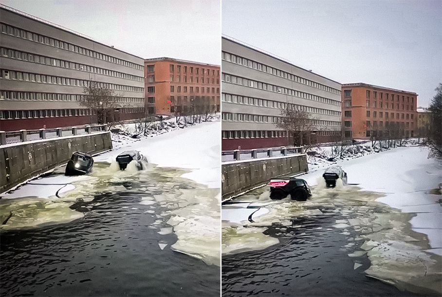 Видео: Два вездехода Шерп плавают в реке в Санкт-Петербурге