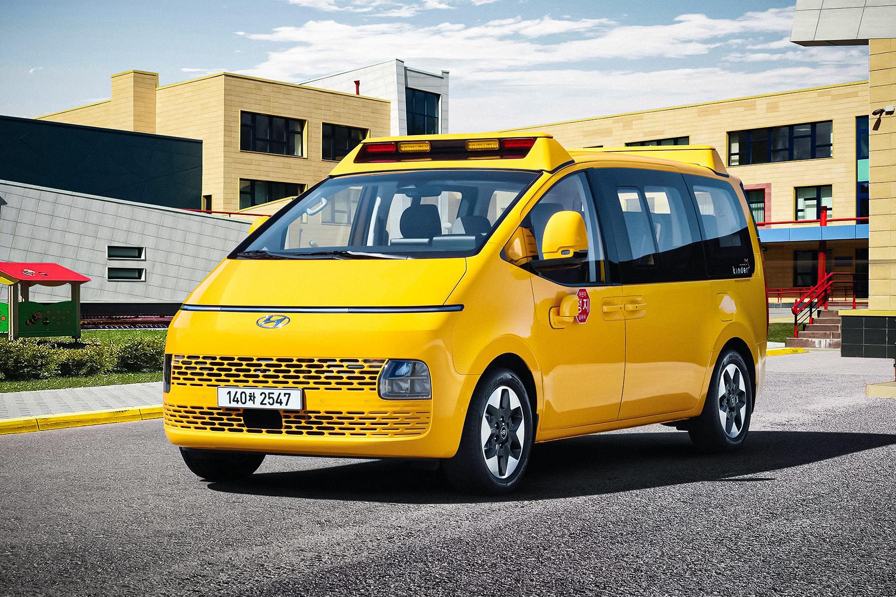 Футуристичный минивэн Hyundai Staria превратился в школьный автобус