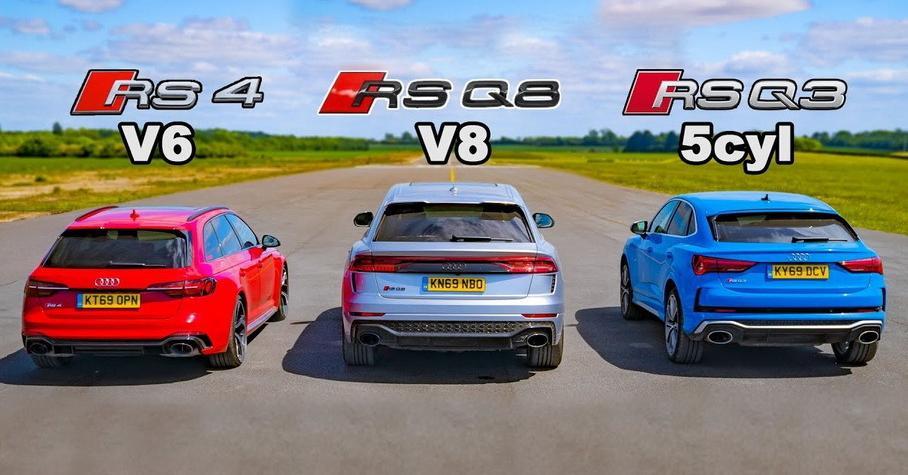 Видео: Audi RS Q8 сразилась в дрэге с RS4 Avant и RS Q3